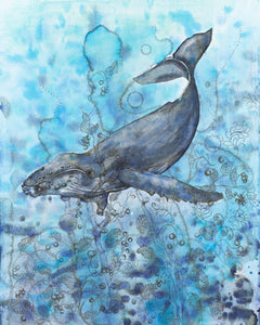 A hump back whale in turquoise blue waters with unfurling sea plants and the words Defend, Conserve and Protect embedded into the painting.