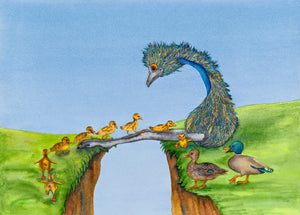 "Cheer 'em Up series:  ""Duck Crossing II"" - Emu and Duck Watercolour"