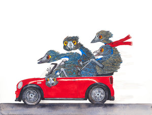 Family Outing - Emu Watercolour Prints