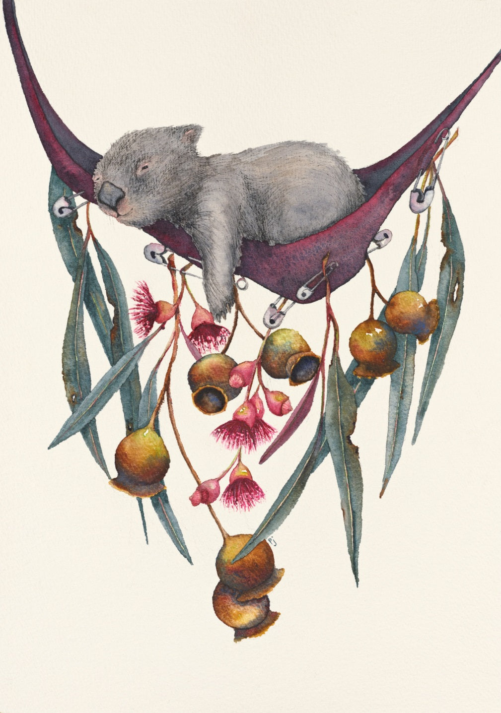 A relaxing wombat in a hammock decorated with gum leaves, nuts and flowers. The decorations roughly resemble the shape of Tasmania.