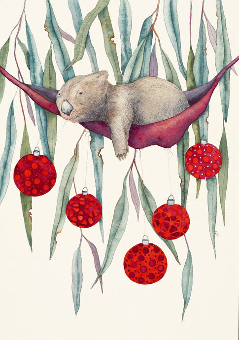Five Wombat Christmas GREETING CARDS Set