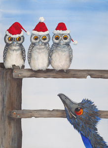 "Christmas: ""Hoo! Hoo! Hoo! Merry Christmas!"" - Emu and Owl Watercolour"