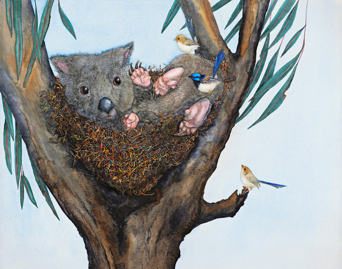 House Sharing - a wombat and fairy wrens watercolour print