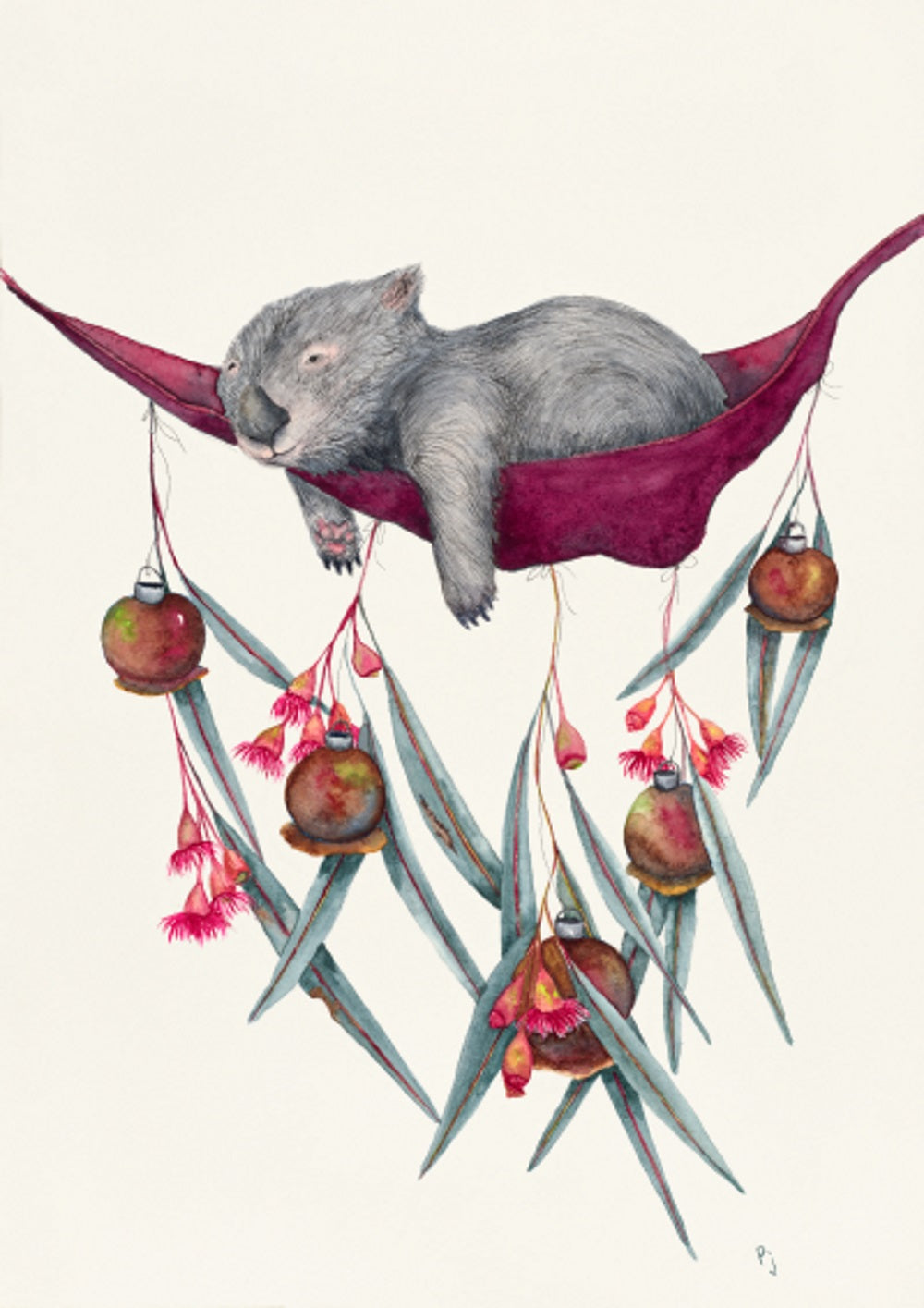 This is a print of my original watercolour painting of a sleepy wombat in a hammock. The hammock has been decorated with gum nuts and flowers.