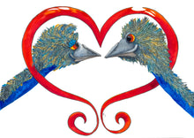 With the backdrop of a bright red heart, two emus gaze lovingly into each other's eyes.