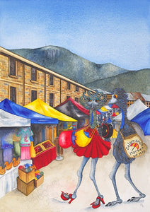 """Retail Therapy, Salamanca"" - Tasmania Watercolour"