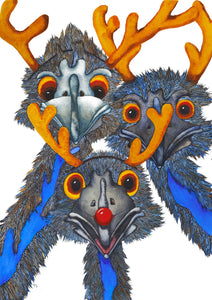 "Christmas:  ""Rudolph the Red Nosed Emu"" - An emu watercolour Christmas scene"
