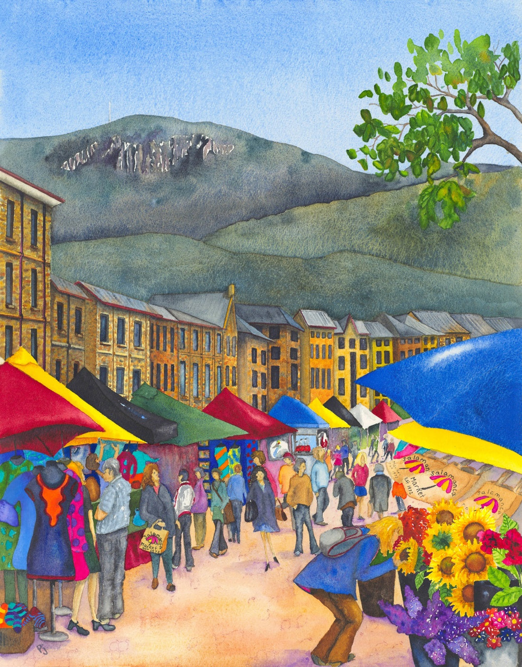 'Salamanca Saturdays' - Travel Tasmania Watercolour