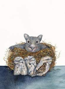 Share House - a wombat and tawny frogmouth watercolour print