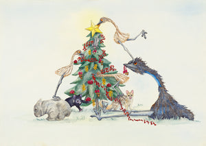 "Christmas: ""Tassie Christmas"" - Emu Watercolour"