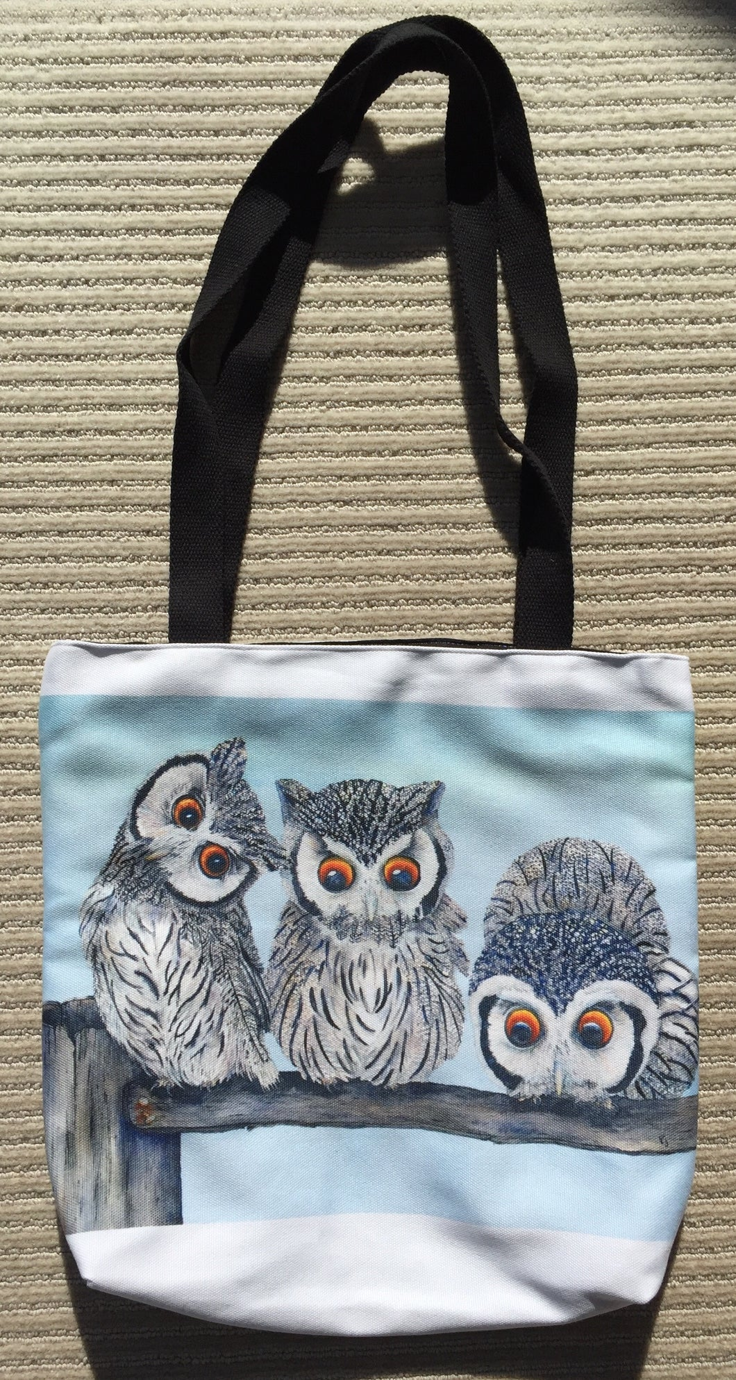 Tote Bag: White Faced Scops Owls