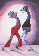 Two emus , one dressed in a slinky red dress and the other in a waist coat holding a rose in its beak, are dancing a passionate tango together.
