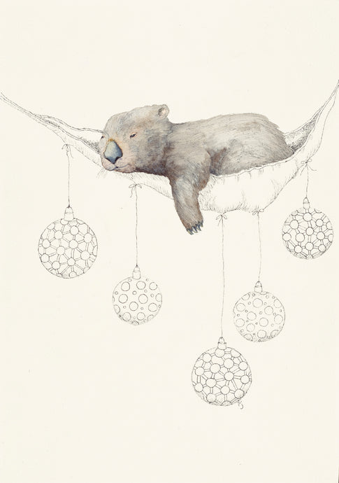 This is a water colour painting of a sleepy wombat that is patiently waiting the arrival of Santa Claus. The wombat is painted but the rest of the picture is drawn in Artline pen. The wombat is resting in a hammock that has been tastefully decorated with bobbles.