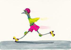"Sports ""Bullet!"" Rollerblading Watercolour painting"