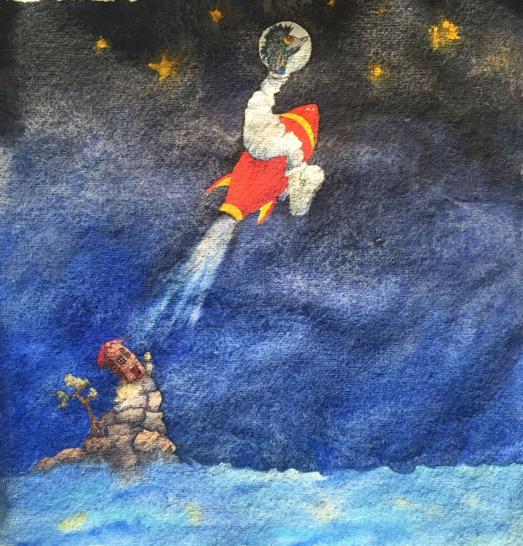 This is a watercolour painting of an emu sitting on a red and yellow rocket heading into space. There's a little house on an island witnessing this spectacular event. The background sky is a bright blue gradually getting darker. There are stars in the sky and the ocean surrounding the little island house.