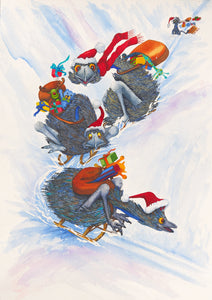 "Christmas: ""Santa's Helpers"" - a print of emus helping with Christmas deliveries"