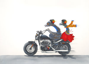 Two emus are riding a Harley Davidson motorcycle. The front driver is using his feet to steer the bike and the passenger, wearing a red dress, is balancing very well on the bike considering her legs are not anchored to any part of the bike.