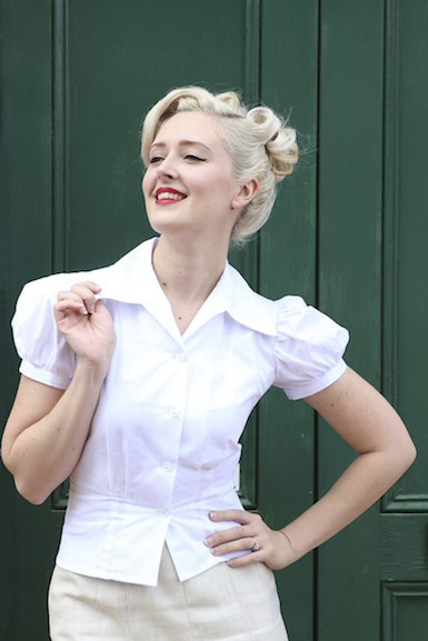 Jitterbuggin' Late 1930s Style Puff Sleeve Nicolai Blouse in Pure White
