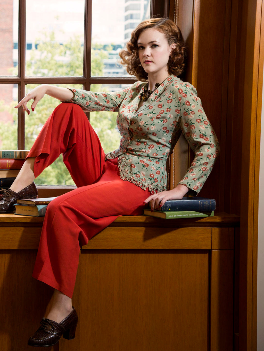 Vintage 1940s Pants - Killer 40s Paprika Red High Waist Slacks with Side Buttons