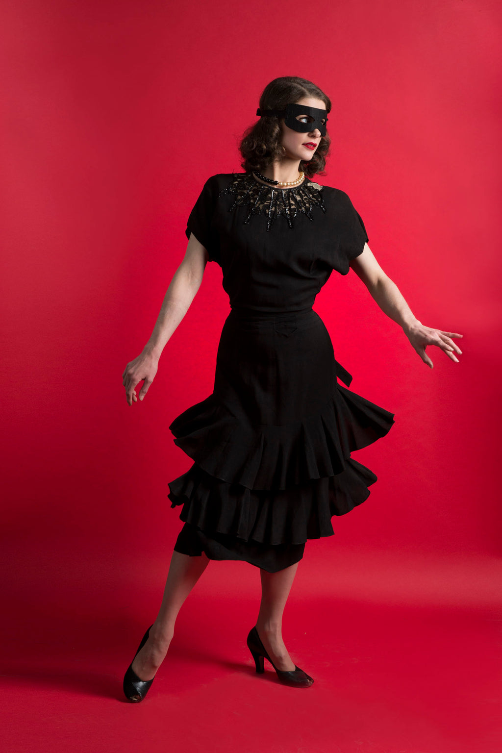 Bombshell 1940s Rayon Crepe Dress with Ruffled Bustle Skirt and Web Like Neckline