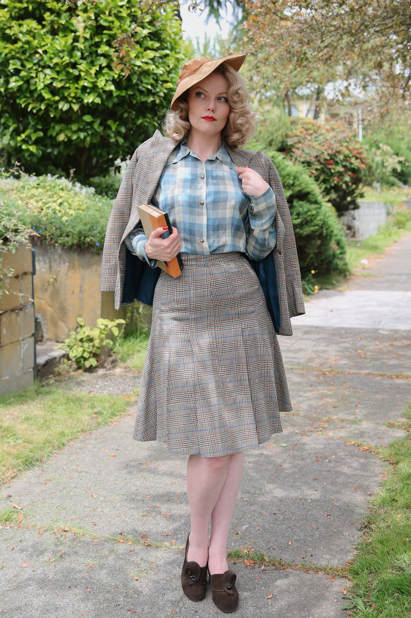 Collegiate 1940s Plaid Suit with Box Pleated Skirt