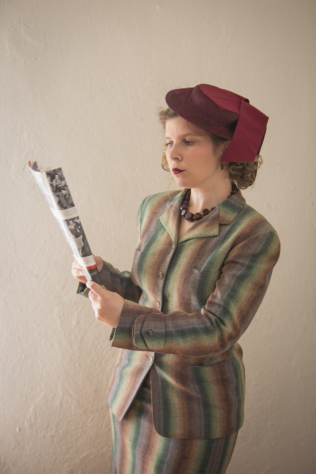 RESERVED Smart 1940s Rainbow Striped Suit with amazing tailoring and Details.