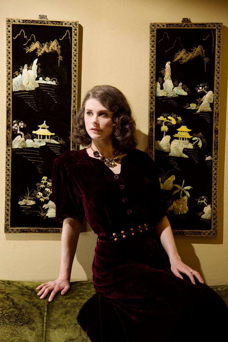 1930s Cabernet Rayon Velvet Dress with Studded Belt