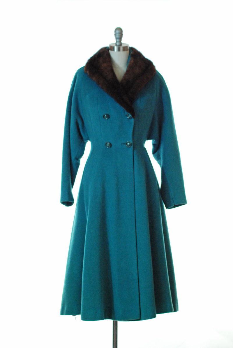 Dramatic Post War Late 1940s Princess Coat in Teal Blue with Mink Collar