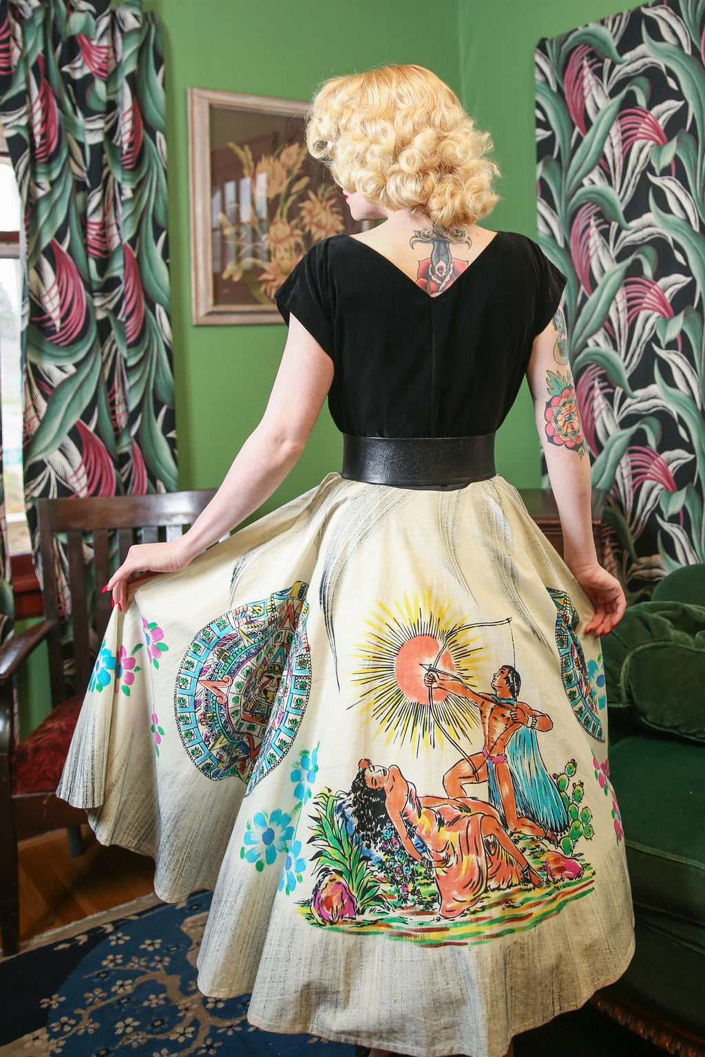 Gorgeous 1950s Handpainted Mexican Tourist Skirt with Aztec Sun Stone and Mythology Theme