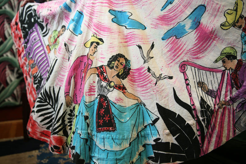 Boldly Colorful 1950s Handpainted Mexican Tourist Skirt with Musicians and Dancers