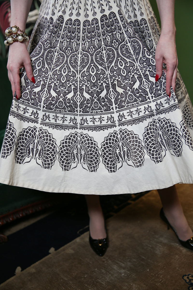 Unique Late 1950s Dress with Gorgeous Border Print Skirt Featuring Herons and Peacocks