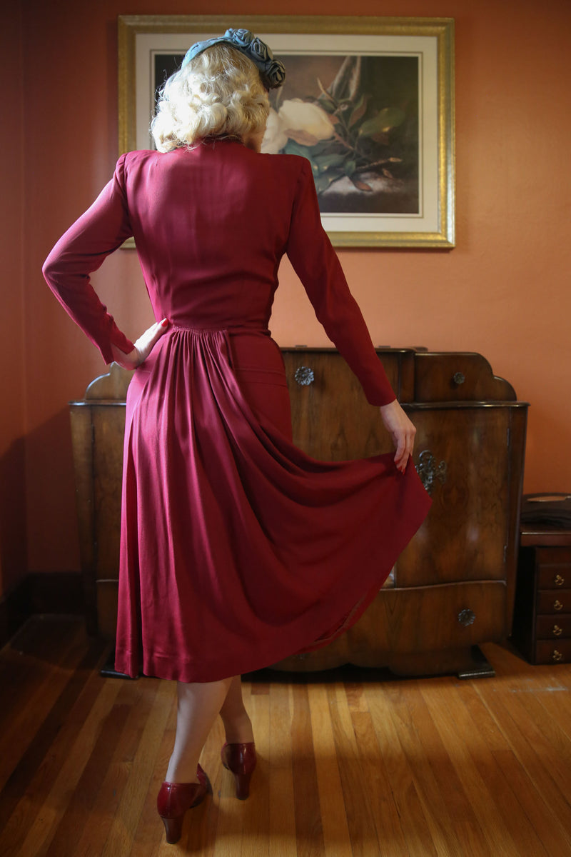 Rich 1940s Deep Crimson Red Rayon Crepe 40s Cocktail Dress with Amazing Wire Shaped Shoulder Pads