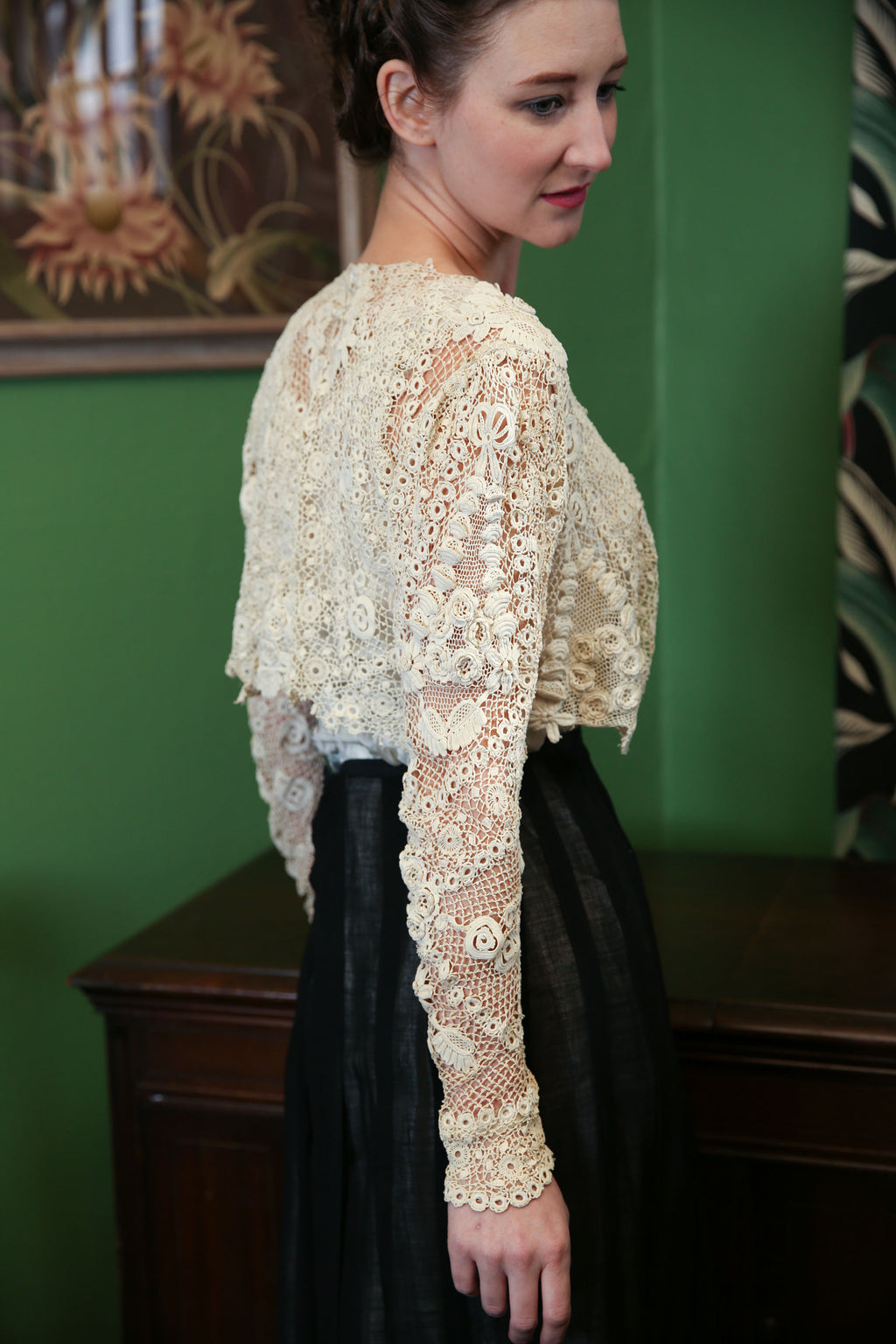 Rare and Striking Irish Crochet Lace Top from 1900s Era Gown, Gorgeous Textile