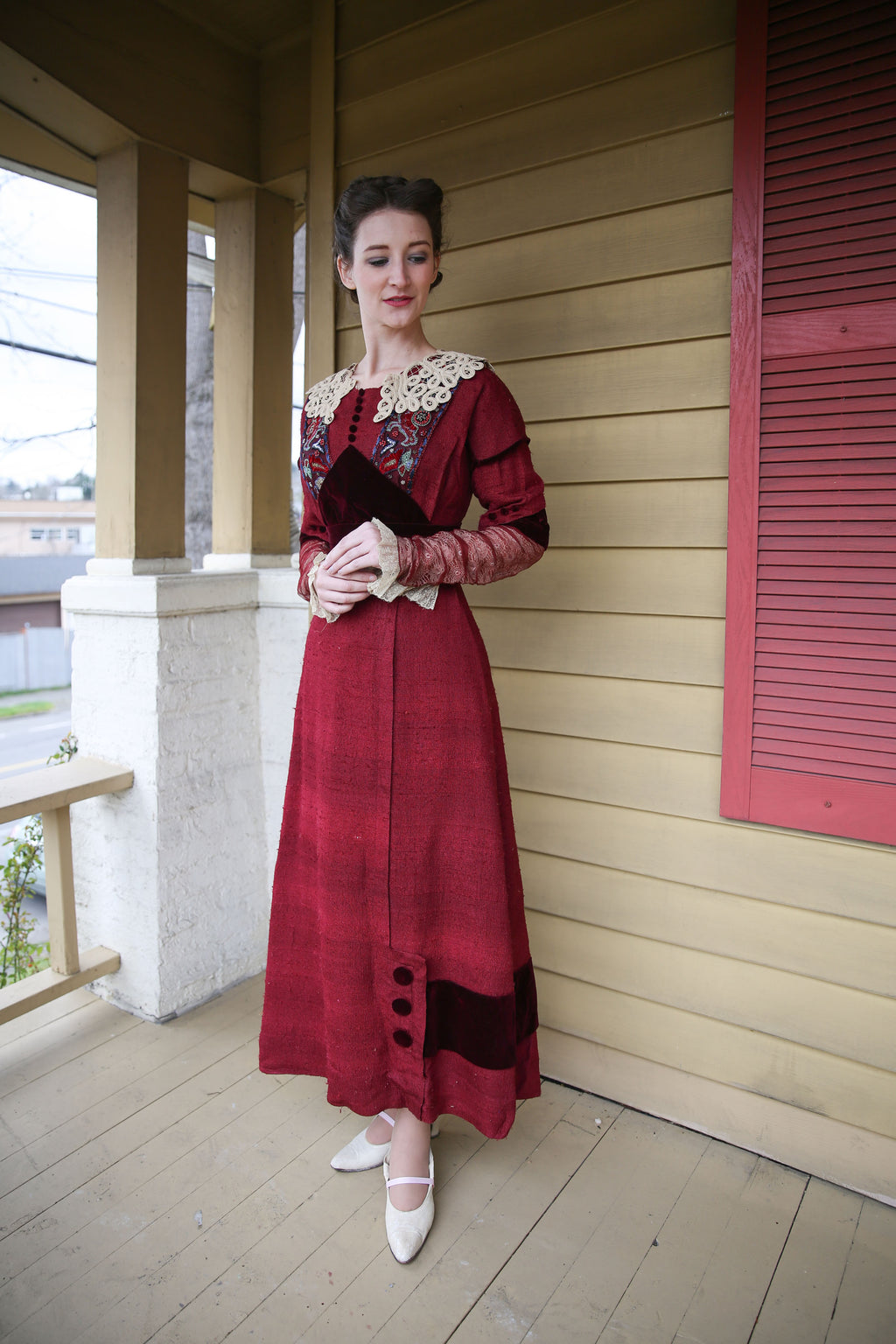 Gorgeous Previously Restored 1910s Day Dress in Silk Twill with Replaced Accents