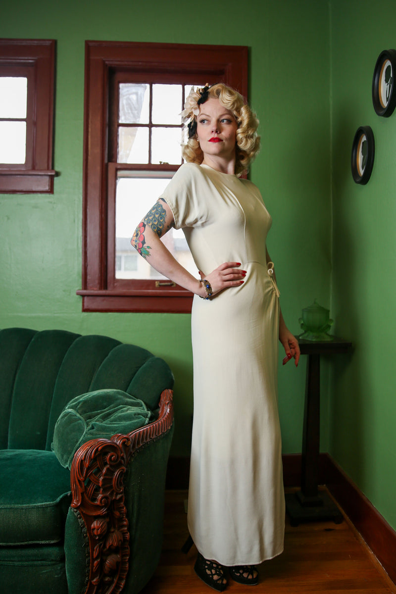 Exquisite Draped 1940s Rayon Crepe Wedding Dress with Hip Detail and Buttoned Back