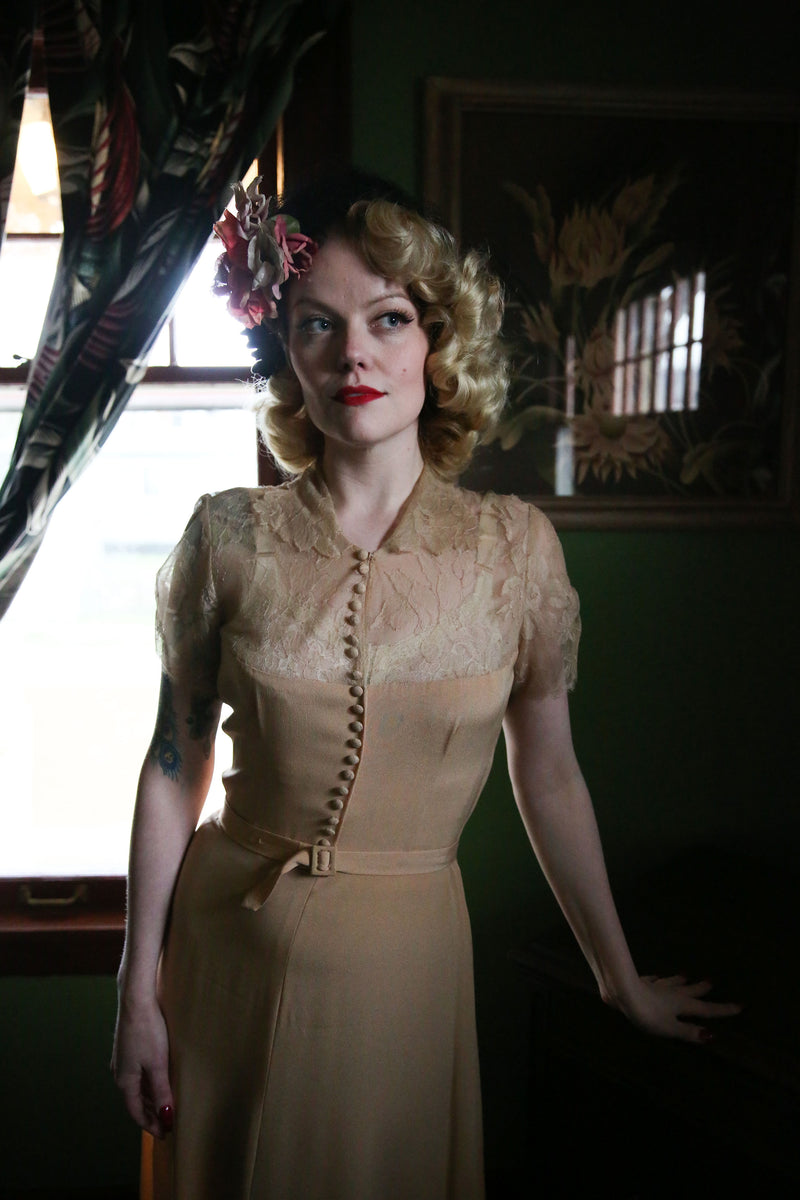 Daring 1940s Cocktail Dress with the Lowest Sheer Lace Neckline, Button Accents and Matching Belt