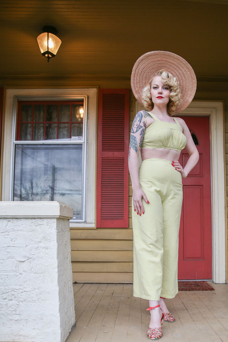 Sporty 1930s Two Piece Pantsuit Set in Honeydew Green with Bared Midriff