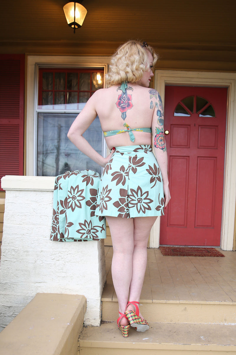 Fabulous 1940s Matching Tropical Shorts and Skirt Set in Light Aqua with Brown