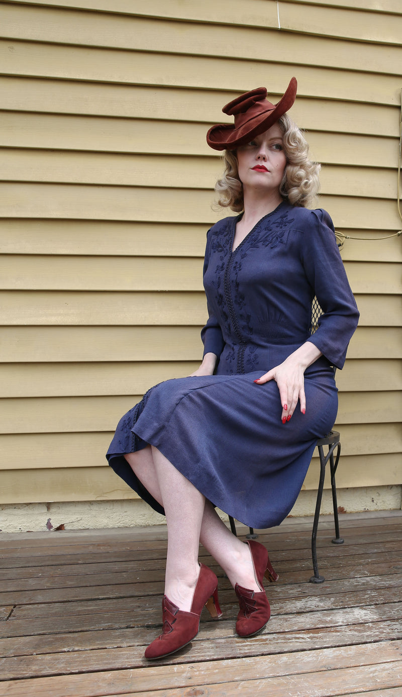 Lovely 1930s Rayon Steel Blue Dress with Soutache Flowers