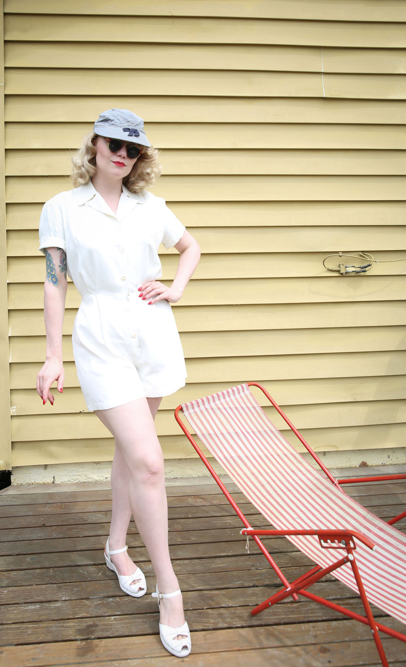 Versatile 1940s Rayon Faille Playsuit with Smart Collar and Perfect Shorts