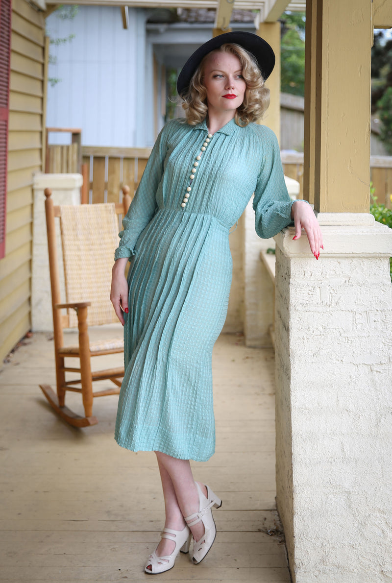 Gorgeous 1930s Pleated Silk Seersucker Summer Dress with Full Cut Sleeves and Accent Buttons