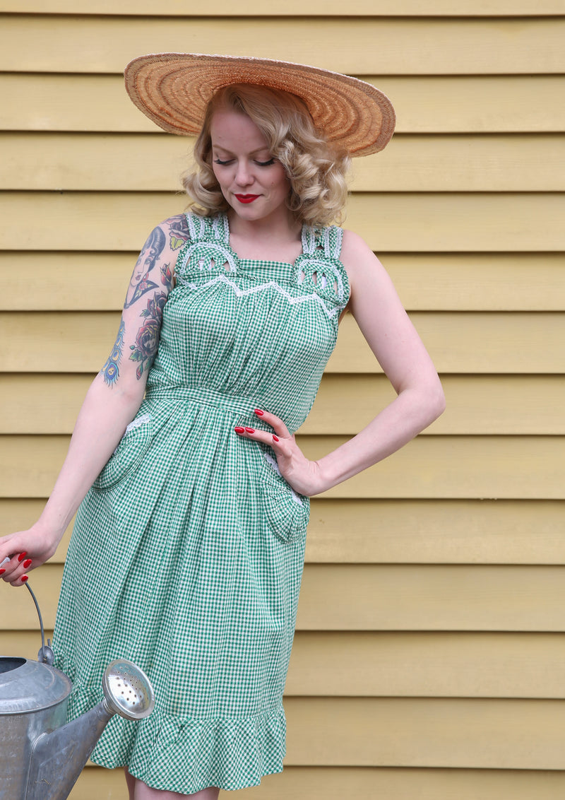 Charming 1940s Heavy Cotton Gingham Pinafore Style Summer Sundress