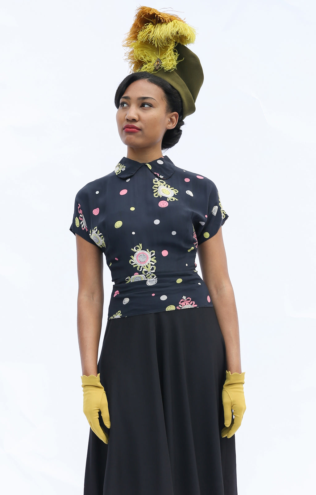 Smart Postwar 1940s Day Dress with Novelty Print Clocks and Black Skirt