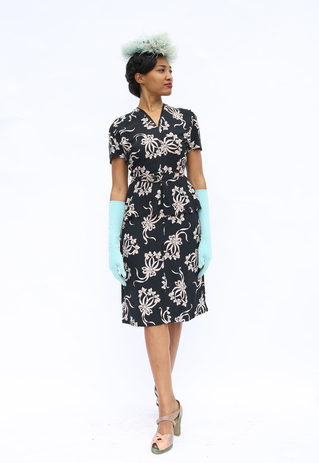 Darling 1940s Printed Rayon Dress in Black with Pale Bow Motif