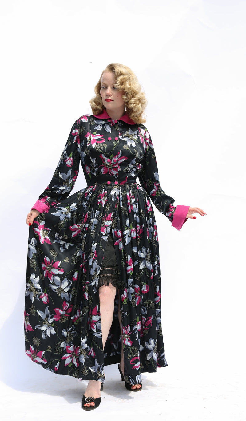 Phenomenal Late 1940s Satin Dress Gown with Soft, Flannel-Like Reverse