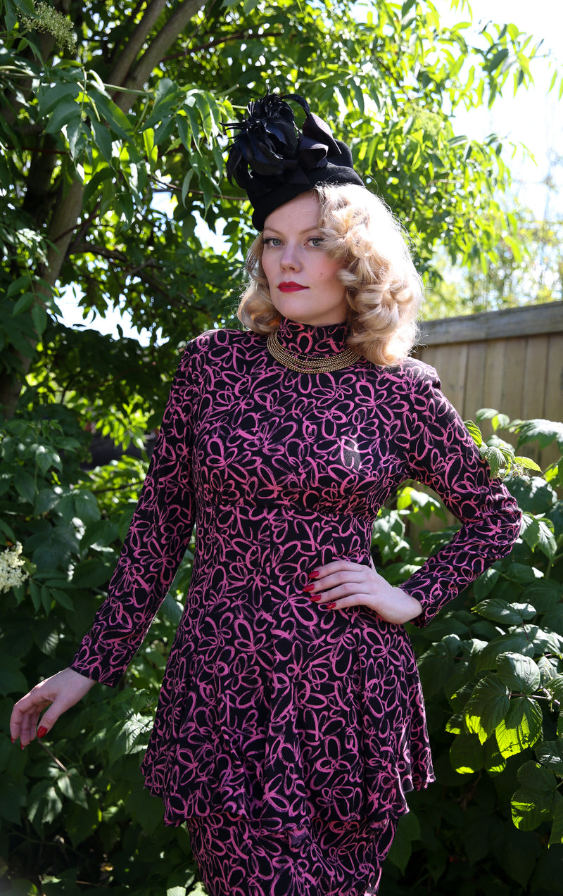 Killer 1980s Does 40s Rayon Peplum Dress with High Neck and Long Sleeves.