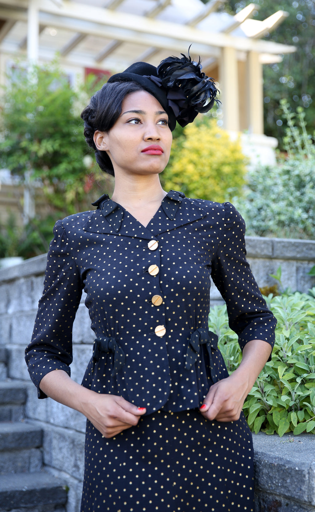 Charming 1940s Rayon Skirt Set in Black with Gold Swiss Dots