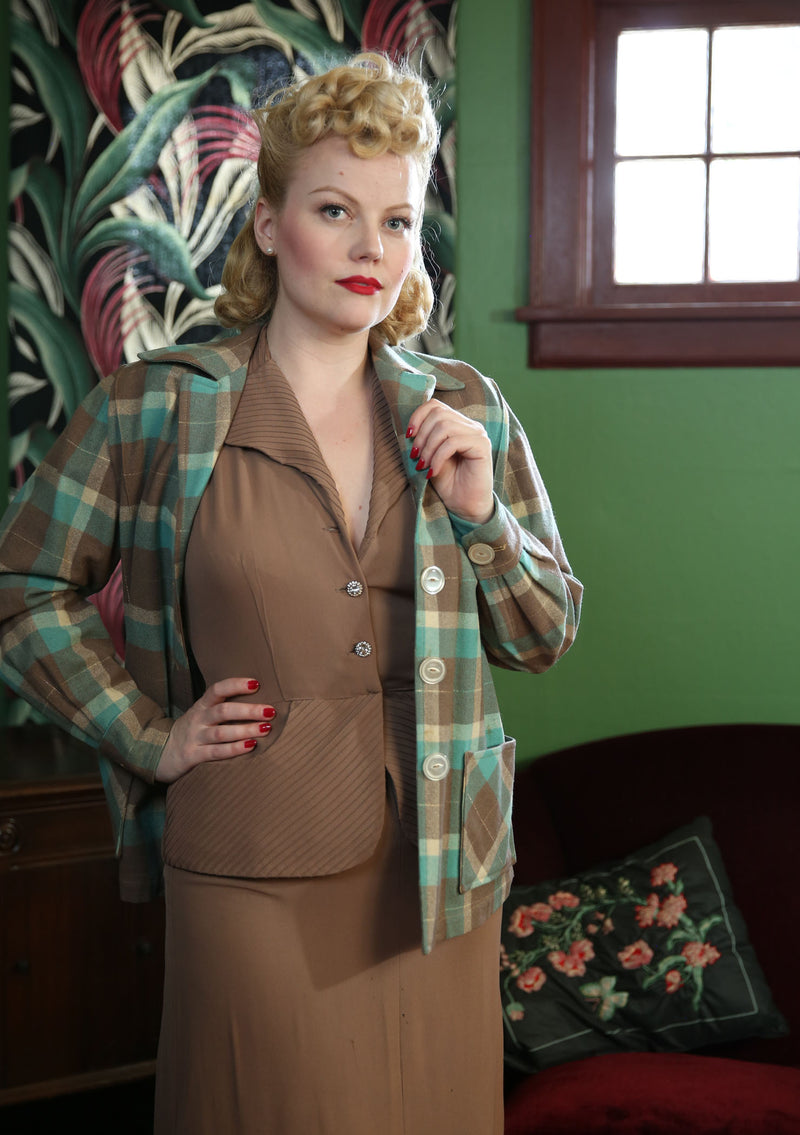 Classic 1950s Aqua and Brown Pendelton Style 49'er Wool Rockabilly Jacket