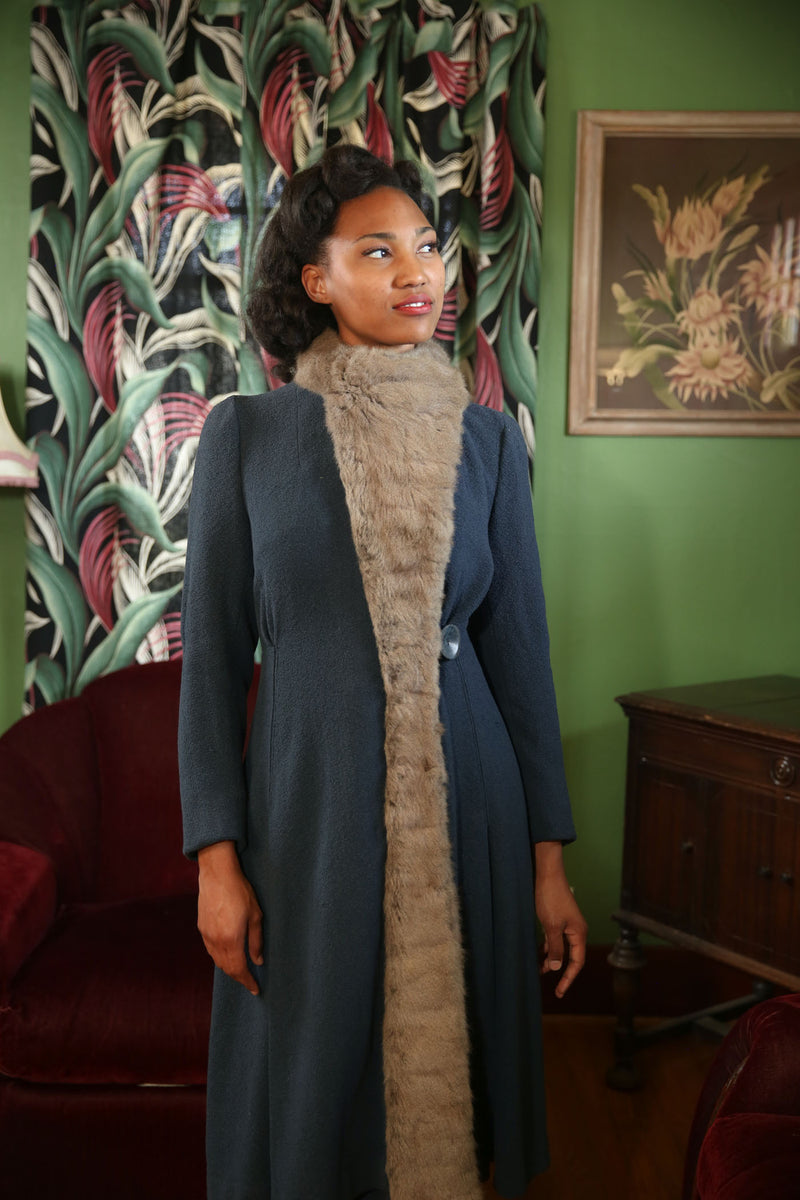SOLD on LAYAWAY Exquisite Late 1930s Dusky Blue Princess Coat with Dramatic Rex Rabbit Fur Trim