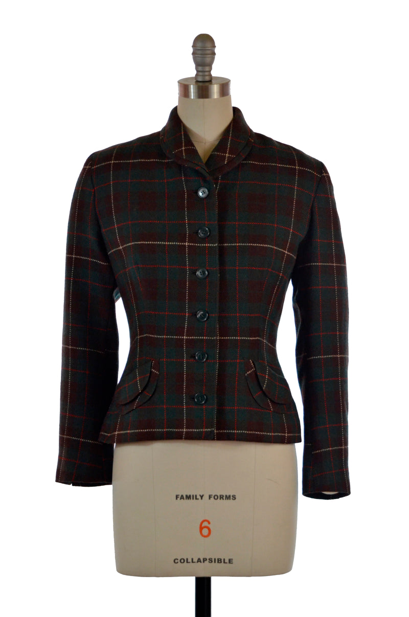 Gorgeous 1950s Tailored Wool Plaid Jacket by Peck & Peck